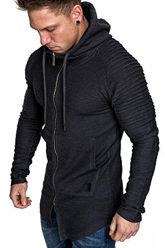 Amaci&Sons Herren Oversize Biker Jacke Kapuzenpullover Strickjacke Hoodie Sweatjacke Pullover 4031 Anthrazit XL