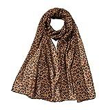 GreatestPAK Damen Chiffon Schal Leoparden Schal Klimatisierungs Schal,Kaffee