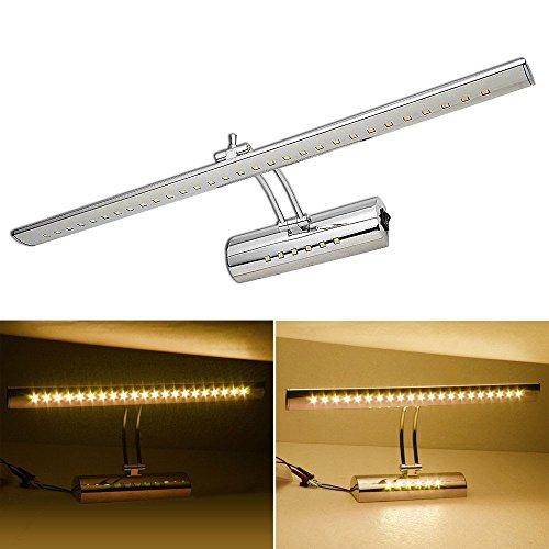 HENGDA® 11W LED Dual-Lichtquelle Spiegellampe 180 °einstellbar Edelstahl Spiegelleuchte Badleuchte mit Schalter Schranklampe Bilderlampe Wandleuchte IP20 (11w Edelstahl Warmweiß)
