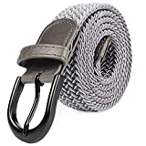 Cintura elastica intrecciata con fibbia ovale nera ed estremità in pelle, unisex (7 misure, 27 colori) Argento L 91.44/96.52 cm(109.22 cm lunghezza)