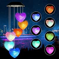 Welltop Wind Chime, Solar Wind Chimes Outdoor Changing Colors Waterproof Heart LED Solar Windchime Lights Unique Outdoor Decor for Yard, Patio, Garden, Home, Indoor, Festival