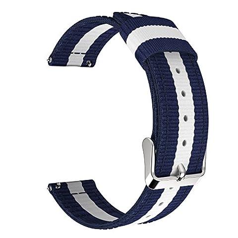 MoKo Pebble Time & Time Steel Armband, universal 22mm Nylon Uhrenarmband Erstatzband Uhr Band Watchband für Gear S3 Frontier, S3 Classic, 2, Xiaomi Amazfit pace, Moto 360 2nd Gen 46mm, Blau/Weiß