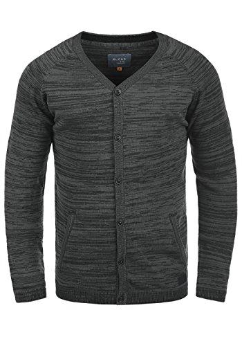 Blend Samuel Herren Strickjacke Cardigan Feinstrick Mit V-Ausschnitt und Knopfleiste Aus 100% Baumwolle, Größe:L, Farbe:Black (70155)