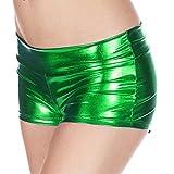 Frauen Metallic Faux Leder Wet Look Mini Shorts PVC glänzend Hot Pants