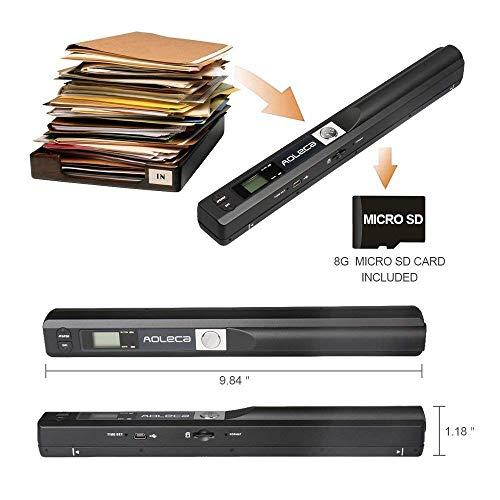 Handscanner Aoleca 900DPI Tragbarer Mobile Dokumentenscanner A4/B5 Scanner Visitenkartenscanner s/w und Farbe (Erweitern 8G Micro SD Karte, Hi-Speed USB 2.0 und OCR Software enthalten) - 2