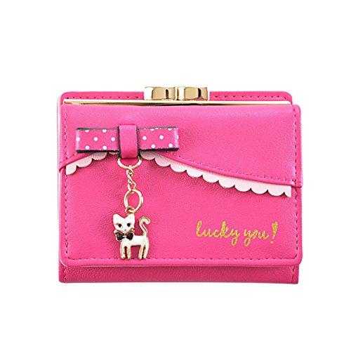 LUI SUI Portafoglio in pelle PU per donna Portafoglio carino per carta animale Organizer Piccola borsa a moneta Tassel Zipper per donna e ragazz