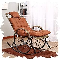 Q.AWOU Fauteuil à Bascule Garden Relax Furniture Chaise Longue intérieure Fauteuils Tout Genre de Planeur avec Coussins inclinables Porches Côté Piscine 3 Style (Couleur: C, Taille: 150x62x100cm)