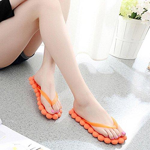 Eté Plage Flip Flop Piscine Chaussures Femme / Homme Tongs en Relief Massage Orange