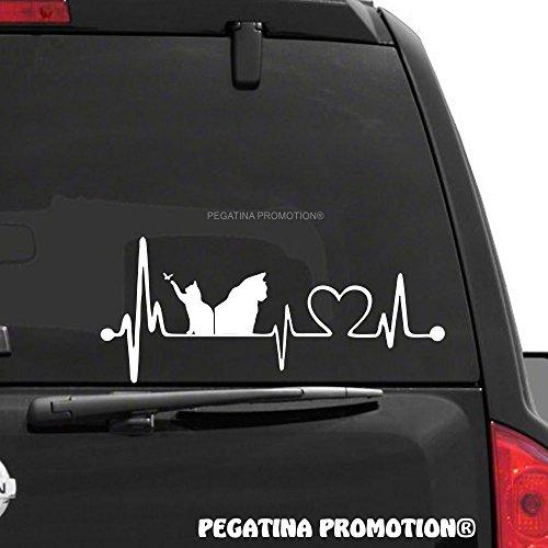 Katzen Cats Herzschlag Aufkleber 30 cm Herzlinie Hobby Sticker Auto Lack Scheibe Autoaufkleber von Pegatina Promotion ®