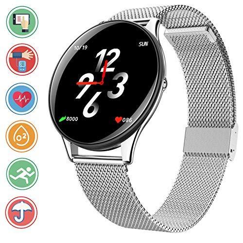 Bluetooth Smartwatch Fitness Tracker, Sport Uhr Intelligente Armbanduhr Smart Watch mit Herzfrequenz Schlaftracker Schrittzähler Überwachung Remote Kamera Kompatibel mit Android iOS,Silber