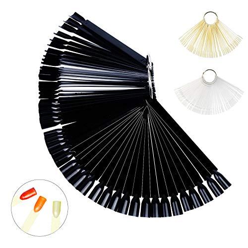 3 Set Nagelspitzen PATAZOK 150pcs Nail Art Display Nagel Präsentation tips für gelnägel (Schwarz Transparent Natürliche Farbe) (Nagellack Der Praxis)