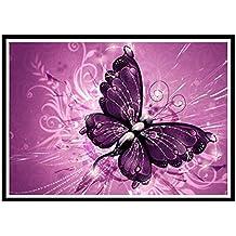 BaZhaHei de Pintura, Mariposa morada de 5D DIY Diamante Pintura Bordado Redondo Diamante Decoración Del