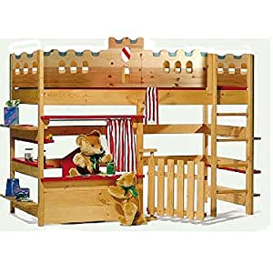 silenta kinderbett schlossbett 90x200cm kiefermassivholz k che haushalt. Black Bedroom Furniture Sets. Home Design Ideas