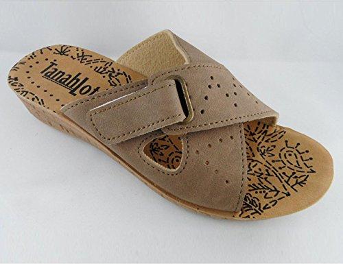 Tanahlot-ciabatta sanitaria donna incrocio velcro zeppa, taglia: 39, colore: visone