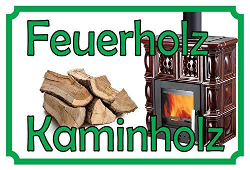 ComCard Feuerholz Kaminholz Schild aus Blech Tin Sign
