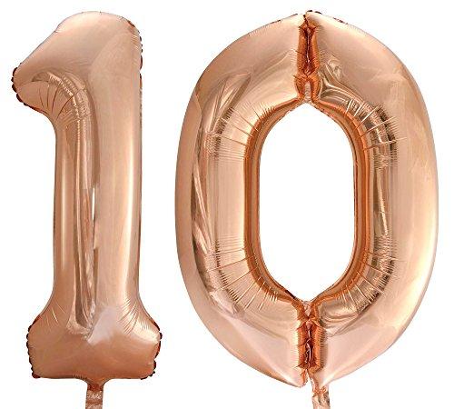 BallonimBallon Zahl 10 in Rosegold - XXL Riesenzahl 86cm - Luftballons Folienballon Geburtstag zum 18. Geburtstag Happy Birthday