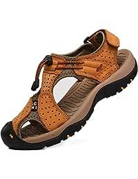 2cf980cf0a8 Rismart Hombre Punta Cerrado Gancho y Bucle Al Aire Libre Excursionismo  Cuero Zapatos Sandalias y Chanclas