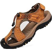 68866ee5608177 rismart Herren Closed Zu Draussen Sport Trekking Schuhe Leder Sandalen