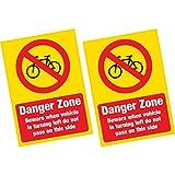 2x Danger Zone Radfahrer BEWARE groß ACHTUNG Vinyl Aufkleber LKW LKW Van