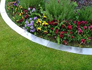 Metal lawn edging silver garden outdoors for Easy gardener lawn edging