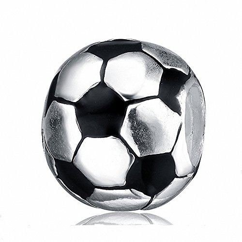 925 Sterlingssilber-Sport-Charm-Perlen für europäische Charm-Armbänder fußball