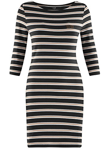 oodji Ultra Damen Jersey-Kleid Gestreift Blau (7933S)