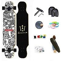 WRISCG Longboard Tabla Completa 25x107cm Skateboard, Drop-Through Freeride Skate Cruiser Boards, Rodamientos ABEC Alta velicidad, 8 Capas Flexible de Arce, por Adulto Principiante,D