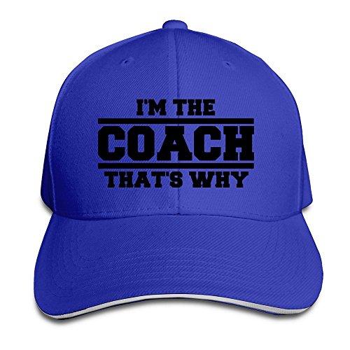 YhsukRuny Custom Im The Coach Thats Why Adjustable Sandwich Hunting Peak Hat/Cap Royalblue (Hat Coach)