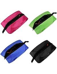 Bolsas de Zapatos de Viaje, NEWSTYLE Bolsa de Organizador de Calzado portátil de Nylon Resistente al Agua Set de 4 con Cremallera para Hombres y Mujeres (Paquete de 4
