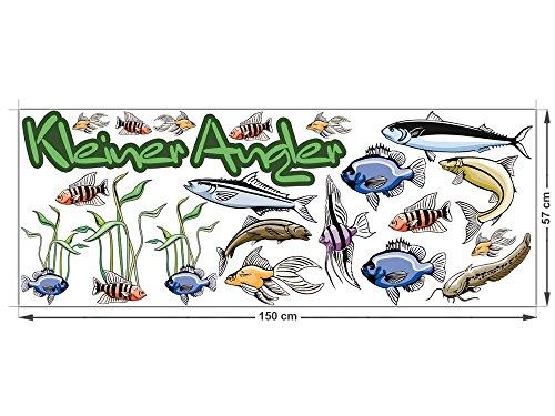 Preisvergleich Produktbild Graz Design 771017_150x57 Wandsticker Set Kinderzimmer Kleiner Angler mit unterschiedlichen Fischen (Bogengre 150x57cm)