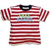 Little Green Radicals organic Fairtrade cotton, Free Range T-shirt (Red & White Stripes) PARENT ASIN