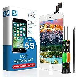 MMOBIEL LCD Display Touchscreen Digitizer Ersatz kompatibel mit iPhone 5S (Weiß) Reparatur Set mit Anleitung