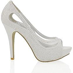 Essex Glam Scarpa Sposa Peep Toe Bianco Satinato Diamante Tacco Alto Plateau EU 40