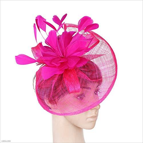 Womens Sinamay Blumen Feder Stirnband Fascinator Hochzeit Headwear -