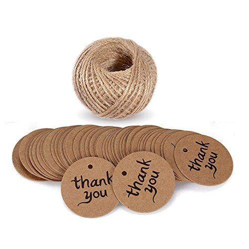 Etichette per regali natalizi o per bagaglio con scritta 'Thank you', etichette rotonde da 4,3 x 4,3 cm, ideali per matrimoni, in carta, con cordoncino in iuta marrone di 30 m, 100 pezzi