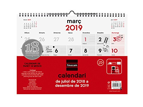Finocam Calendario pared 18 meses 2018-2019 catalán