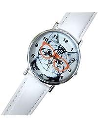 Reloj de mujer con gato y gafas, Idea regalo correa blanco rosa blanco