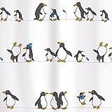 Tatkraft Penguins Duschvorhang 180 X 180 cm Wasserabweisendes Material Peva mit 12 Vorhangringe