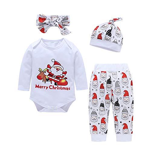 Weihnachtsausstattungen 4 Stücke Baby Weihnachtsmann Drucken Langarm Strampler + Hosen + Stirnband + Hut