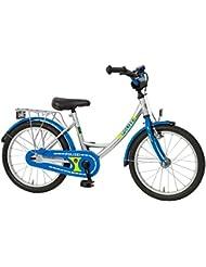 """Kinderfahrrad 16"""" Zoll (=40,6cm) POLIZEI Wave-Rahmen silber-blau-neon Seitenständer"""