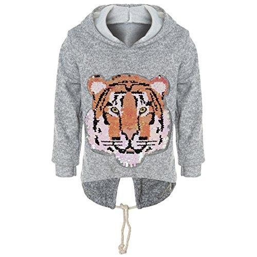 BEZLIT Mädchen Kapuzen Pullover Pulli Wende-Pailletten Sweatshirt Hoodie 21484 Grau Größe 140 - Mit T-shirt-kleid Schlitzen