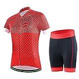 GWELL Damen Fahrradtrikot Set Fahrradbekleidung Atmungsaktiv Fahrrad Trikot Kurzarm + Radhose mit 3D Sitzpolster Muster-A 2XL