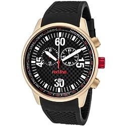 Red Line RL10102 - Reloj de Caballero movimiento de cuarzo con correa de caucho Negro