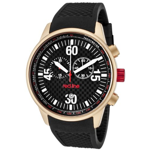 Red Line RL - 10102-Men's Watch Quartz Chronograph Black Rubber Strap