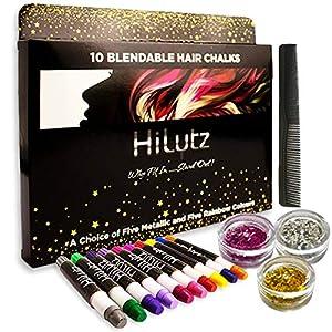 Hilytz Pintura Facial/Tizas Para el Pelo Hair Chalk 10 Metallic Glitter Pens, Fácil de Lavar No toxico/Comb + 3 Glitters/Regalo de Cumpleaños de Navidad