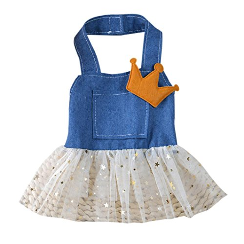 Hund Katze Bogen Tutu Rock Haustier Welpen Hund Prinzessin Kleid Kostüm Crown Dekoration Bekleidung Cute Design Kleidung (S)