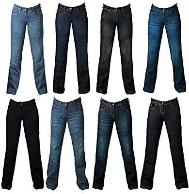 Ladies Women motorbike motorcycle Denim Trousers jeans with protective lining - BLUE