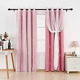 Deconovo Gardinen Blickdichte mit Voile Vorhang Ösenvorhang 138x117 cm Pink Dreieck 2er Set