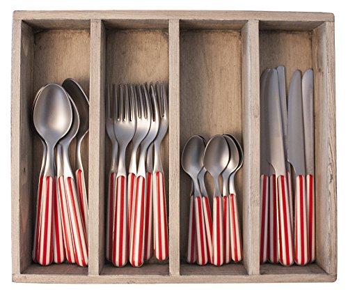 Provence Rayures dîner Ensemble de Couverts en Acier Inoxydable, bac, Rouge, 33.5 x 29.5 x 6.5 cm