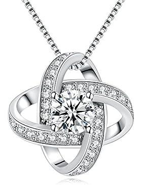 Jane Stone Damenkette Silber Kette mit Anhänger edel Design mit kleinem funkeltem Stein Halskette aus 925 Silber...